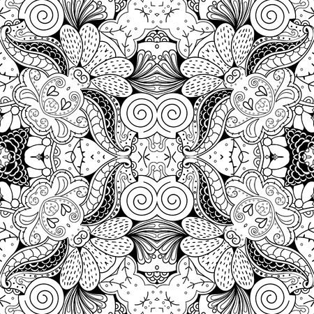 proper: Tracery seamless calming pattern. Mehndi design. Neat even monochrome binary harmonious texture. Algae sea motif. Ethnically indifferent. Ambiguous usable bracing, curved doodling mehendi. Vector.