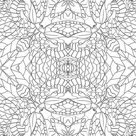 mendie: Tracery seamless calming pattern. Mehndi design. Neat even monochrome binary harmonious texture. Algae sea motif. Ethnically indifferent. Ambiguous usable bracing, curved doodling mehendi. Vector.