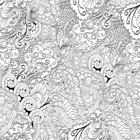 식료품 점 원활한 진정 패턴입니다. Mehndi 디자인. 단색 이진 조화로 운 텍스처조차 청초합니다. 조류 바다 모티브. 인종적으로 무관심한. 애매한 사용 가능한 브레이싱, 곡선 낙서 mehendi. 벡터. 스톡 콘텐츠 - 77220326