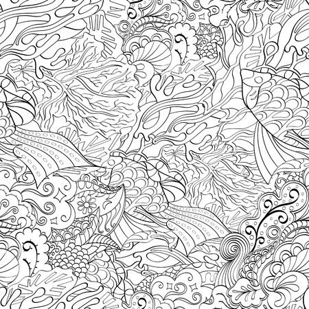 식료품 점 원활한 진정 패턴입니다. Mehndi 디자인. 단색 이진 조화로 운 텍스처조차 청초합니다. 조류 바다 모티브. 인종적으로 무관심한. 애매한 사용
