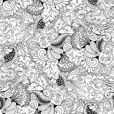 swill: Tracery seamless calming pattern. Mehndi design. Neat even monochrome binary harmonious texture. Algae sea motif. Ethnically indifferent. Ambiguous usable bracing, curved doodling mehendi. Vector.