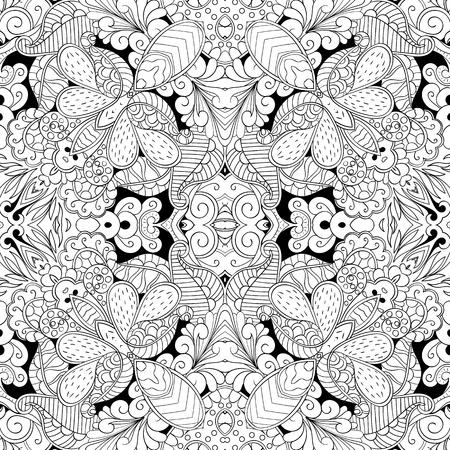 bracing: Tracery seamless calming pattern. Mehndi design. Neat even monochrome binary harmonious texture. Algae sea motif. Ethnically indifferent. Ambiguous usable bracing, curved doodling mehendi. Vector.