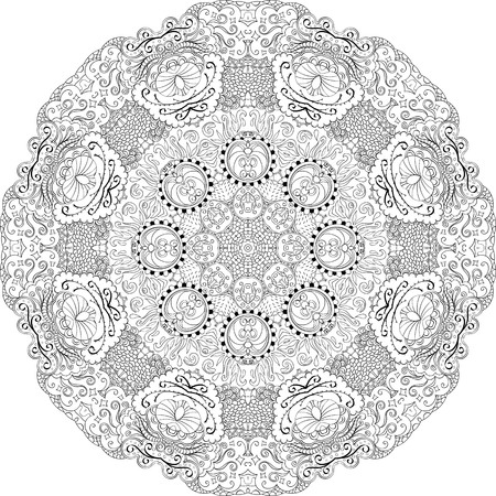 discreet: Ray edge mandala tracery wheel mehndi design. Tracery calming ornament. Neat even binary monochrome harmonious doodle texture. Indifferent discreet.  Bracing usable doodling mehndi pattern. Vector.