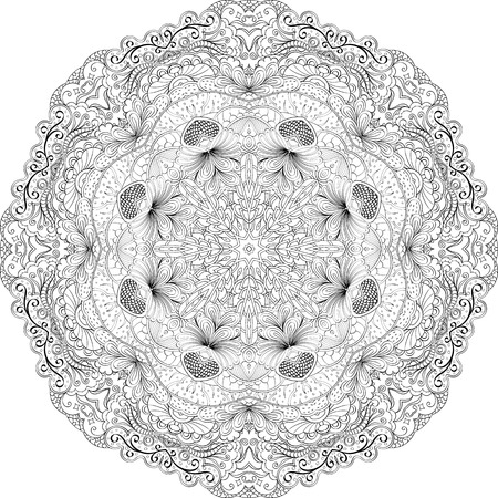 swill: Ray edge mandala tracery wheel mehndi design. Tracery calming ornament. Neat even binary monochrome harmonious doodle texture. Indifferent discreet.  Bracing usable doodling mehndi pattern. Vector.