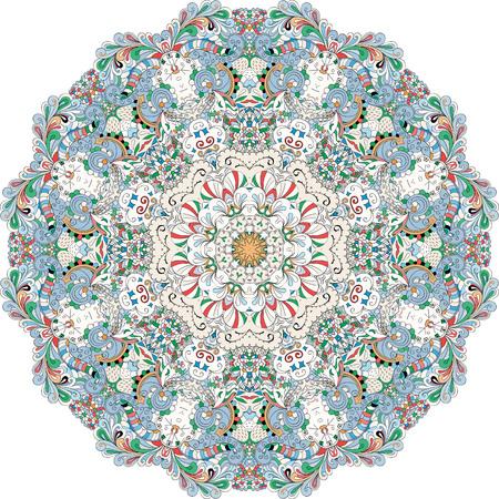 bracing: Ray edge mandala tracery wheel mehndi design. Tracery calming ornament. Colorful harmonious doodle texture. Trace bracing usable doodling mehndi pattern. Vector.