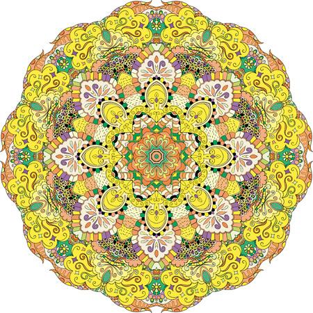 レイ エッジ マンダラ幾何学模様ホイールの一時的な刺青のデザイン。幾何学模様の落ち着いた飾り。カラフルな調和のとれた落書きテクスチャです