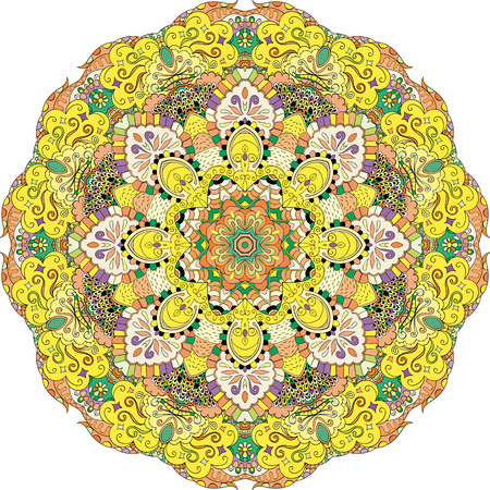 Ray edge mandala tracery wheel mehndi design. Tracery calming ornament. Colorful harmonious doodle texture. Trace bracing usable doodling mehndi pattern. Vector.