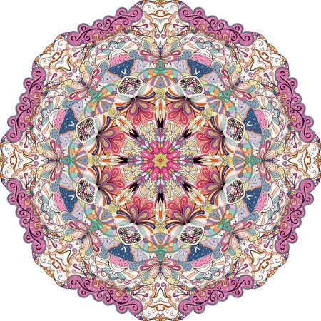 Ray edge mandala tracery wheel mehndi design. Tracery calming ornament. Colorful harmonious doodle texture. Trace bracing usable doodling mehndi pattern. Vector.