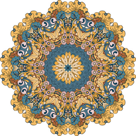 Ray edge mandala tracery wheel mehndi design. Tracery calming ornament. Neat even colorful harmonious doodle texture. Indifferent discreet. Trace bracing usable doodling mehndi pattern. Vector. Vetores