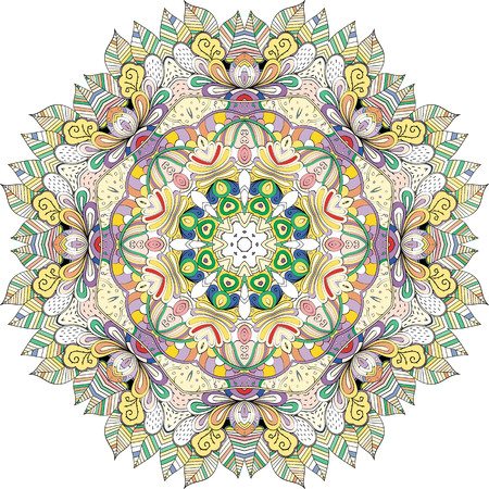 discreet: Ray edge mandala tracery wheel mehndi design. Tracery calming ornament. Neat even colorful harmonious doodle texture. Indifferent discreet. Trace bracing usable doodling mehndi pattern. Vector.