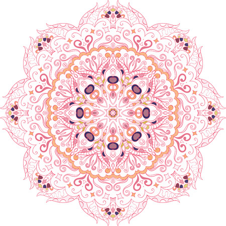 Ray edge mandala tracery wheel mehndi design. Tracery calming ornament. Neat even colorful harmonious doodle texture. Indifferent discreet. Trace bracing usable doodling mehndi pattern. Vector.
