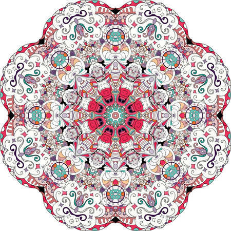 mongoloid: Ray edge mandala tracery wheel mehndi design. Tracery calming ornament. Neat even colorful harmonious doodle texture. Indifferent discreet. Trace bracing usable doodling mehndi pattern. Vector.