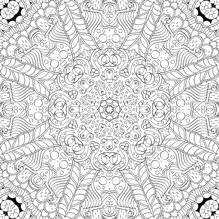 Tracery binary monochrome pattern. Mehendi carpet design. Neat even harmonious calming doodle texture. Also seamless. Indifferent discreet. Ambitious bracing usable, curved doodling mehndi. Vector. Иллюстрация