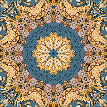 discreet: Tracery colorful pattern. Mehendi carpet design. Neat even harmonious calming doodle texture. Also seamless. Indifferent discreet. Ambitious bracing usable, curved doodling mehndi. Vector.
