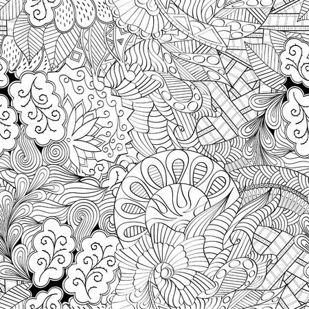 Tracery nahtlose Beruhigung Muster. Mehndi Design. Neat sogar monochrome binäre harmonische Textur. Algen-Meer-Motiv. Ethnisch gleichgültig Ambiguous verwendbare Verspannung, gekrümmte doodling mehendi. Vektor. Vektorgrafik
