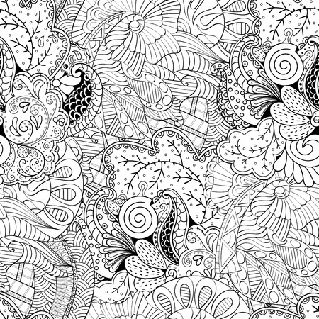 Tracery seamless calming pattern. Mehndi design. Neat even monochrome binary harmonious texture. Algae sea motif. Ethnically indifferent. Ambiguous usable bracing, curved doodling mehendi. Vector.