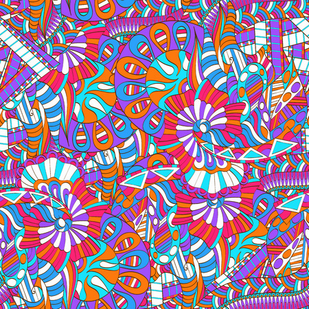 Mehendi calming pattern design. Neat even colorful harmonious doodle texture.