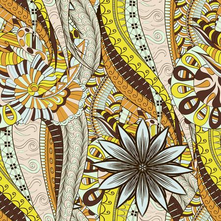 unpredictable: Mehendi calming pattern design. Neat even colorful harmonious doodle texture.