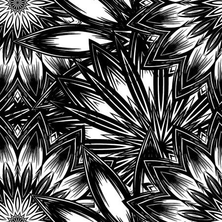 Floral handmade nature ethnic fabric backdrop pattern. Ilustracja