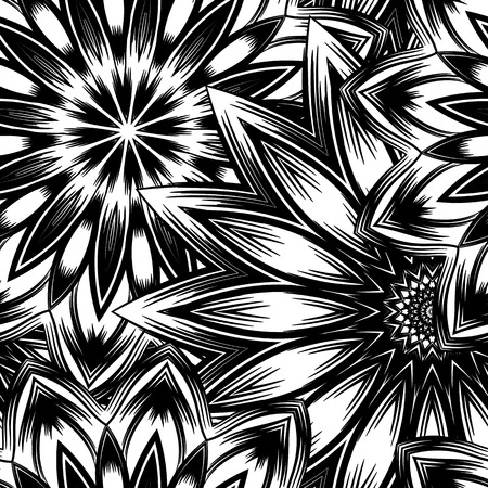 swelled: Floral handmade nature ethnic fabric backdrop pattern. Illustration