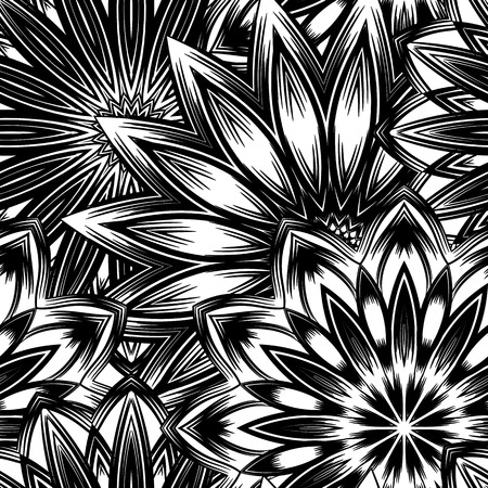 Seamless floral background. Tracery handmade nature ethnic fabric backdrop pattern with flowers. Textile design texture. Decorative binary art. Vector. Illustration