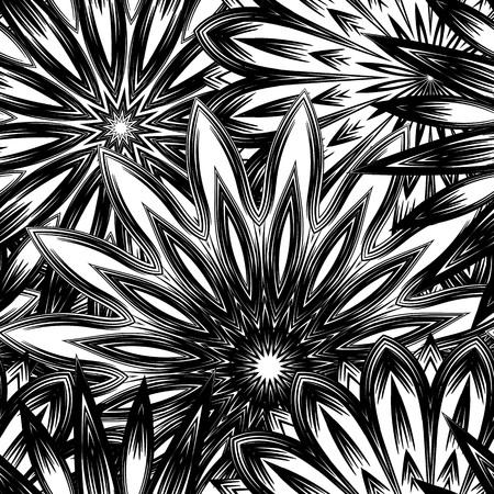 Fondo floral sin fisuras. Tracery hecho a mano naturaleza telón de fondo étnico telón de fondo con flores. Textura de diseño textil. Arte binario decorativo. Vector. Foto de archivo - 77582254