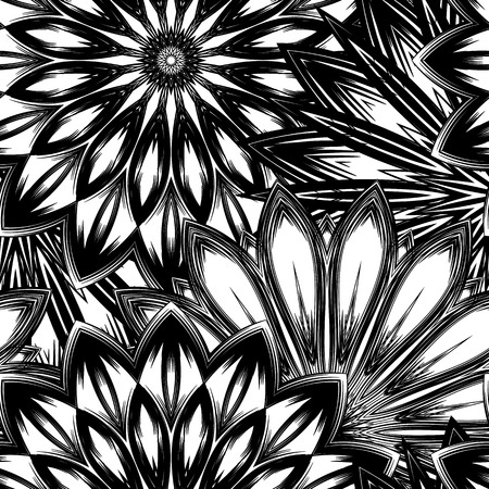 Seamless floral background. Tracery handmade nature ethnic fabric backdrop pattern with flowers. Textile design texture. Decorative binary art. Vector. Ilustrace