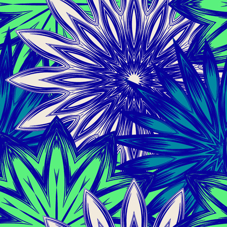 indium: Floral handmade nature ethnic fabric backdrop pattern. Illustration
