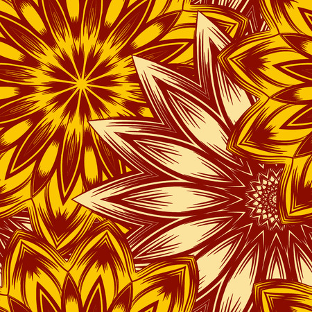 Seamless floral background. Tracery handmade nature ethnic fabric backdrop pattern with flowers. Textile design texture. Decorative colorful art. Vector.