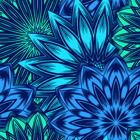 Floral handmade nature ethnic fabric backdrop pattern. Illustration