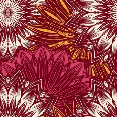 Floral handmade nature ethnic fabric backdrop pattern. Illustration