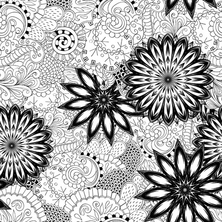mongoloid: Floral handmade nature ethnic fabric backdrop pattern. Illustration