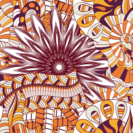 Calming pattern Mehendi design, neat even colorful harmonious doodle texture. Illustration