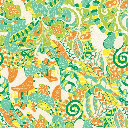 nippon: Calming pattern Mehendi design, neat even colorful harmonious doodle texture. Illustration