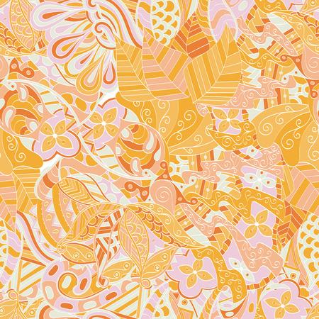 Calming pattern Mehendi design, neat even colorful harmonious doodle texture. 向量圖像