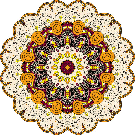 Ray edge mandala tracery wheel mehndi design. Ethnic calming ornament, colorful harmonious doodle texture. Indifferent discreet. Curved doodling mehndi motif. Vector. Illustration