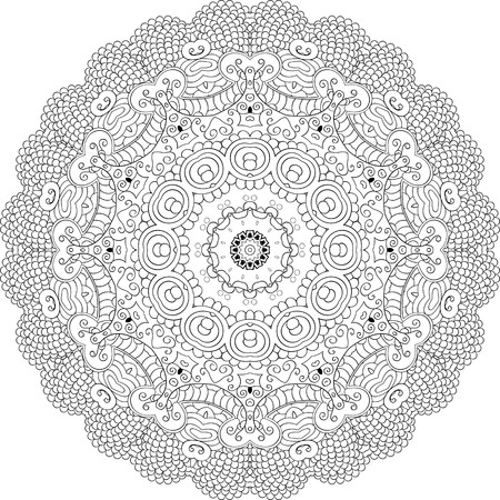 Ray edge mandala tracery wheel mehndi design. Tracery calming ornament. Neat even binary monochrome harmonious doodle texture. Indifferent discreet.  Bracing usable doodling mehndi pattern. Vector.
