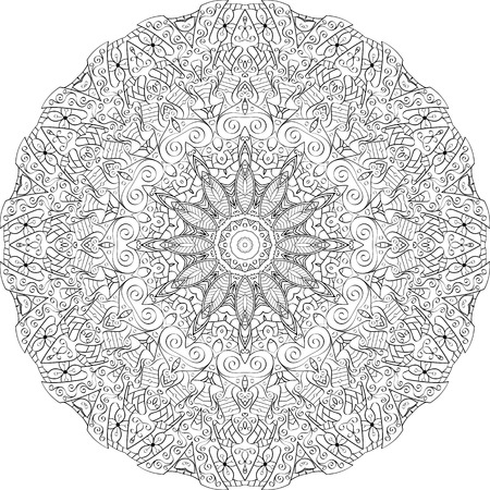 bracing: Ray edge mandala tracery wheel mehndi design. Tracery calming ornament. Neat even binary monochrome harmonious doodle texture. Indifferent discreet.  Bracing usable doodling mehndi pattern. Vector.