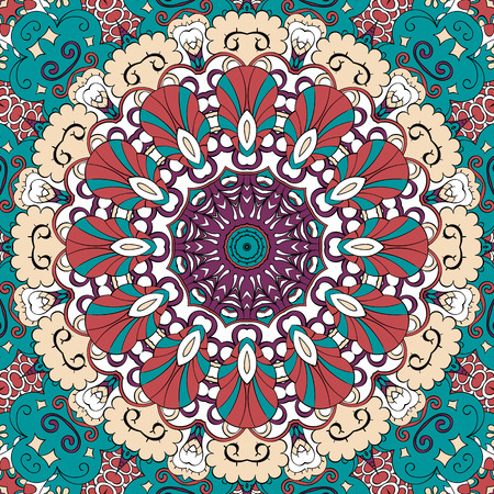 bracing: Tracery colorful pattern. Mehendi carpet design. Neat even harmonious calming doodle texture. Also seamless. Indifferent discreet. Ambitious bracing usable, curved doodling mehndi. Vector.