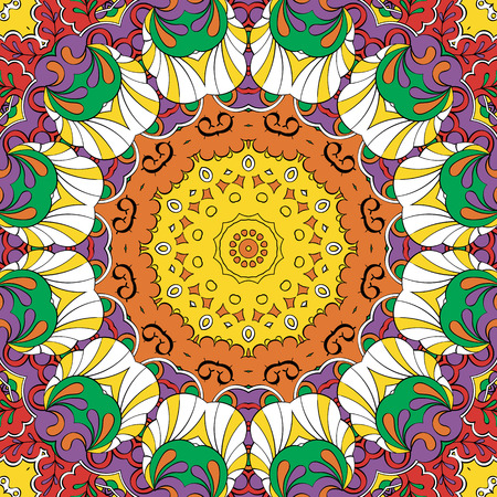 Tracery colorful pattern. Mehendi carpet design. Neat even harmonious calming doodle texture. Also seamless. Indifferent discreet. Ambitious bracing usable, curved doodling mehndi. Vector.