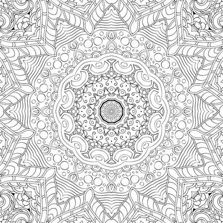 Tracery binary monochrome pattern. Mehendi carpet design. Neat even harmonious calming doodle texture. Also seamless. Indifferent discreet. Ambitious bracing usable, curved doodling mehndi. Vector. Ilustrace