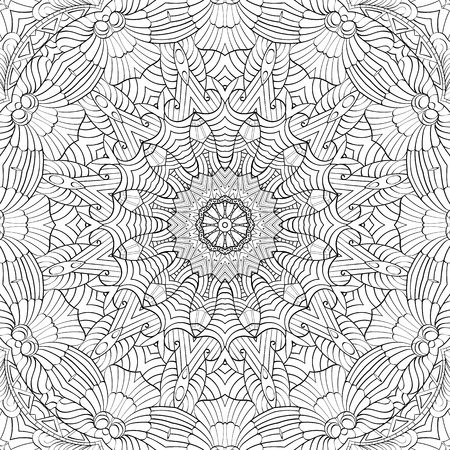 Tracery binary monochrome pattern. Mehendi carpet design. Neat even harmonious calming doodle texture. Also seamless. Indifferent discreet. Ambitious bracing usable, curved doodling mehndi. Vector.