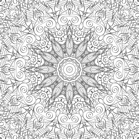 bracing: Tracery binary monochrome pattern. Mehendi carpet design. Neat even harmonious calming doodle texture. Also seamless. Indifferent discreet. Ambitious bracing usable, curved doodling mehndi. Vector. Illustration