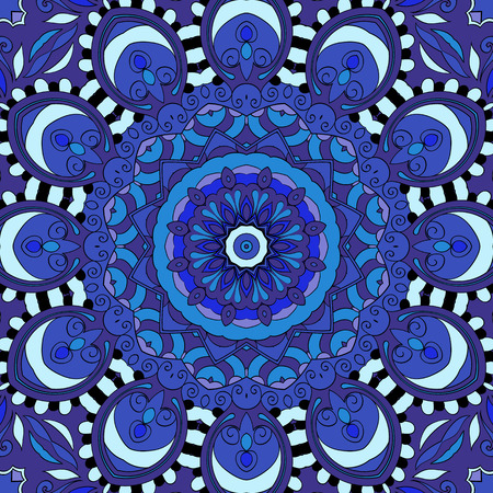 mongoloid: Tracery colorful pattern. Mehendi carpet design. Neat even harmonious calming doodle texture. Also seamless. Indifferent discreet. Ambitious bracing usable, curved doodling mehndi. Vector.