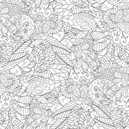 식료품 원활한 원활한 패턴 멘디 디자인. 단색 이진 조화로 운 텍스처조차 청초합니다. 조류 바다 모티브. 모호한 사용 가능한 브레이싱, 곡선 된 낙서 끈 벡터 스톡 콘텐츠 - 77256802