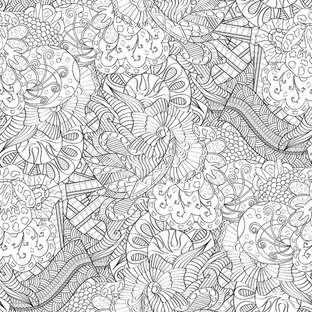 Tracery seamless calming pattern mehndi design. Neat even monochrome binary harmonious texture. Algae sea motif. Ambiguous usable bracing, curved doodling mehndi vector