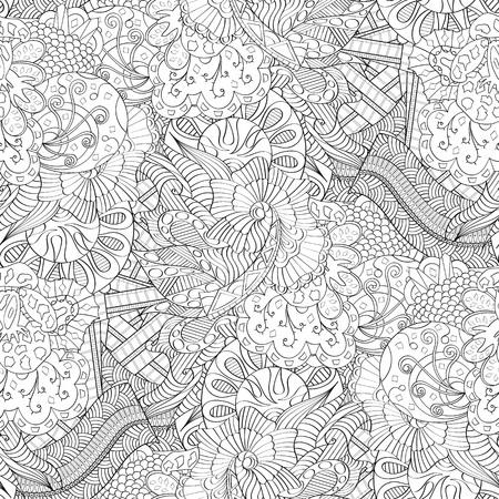 Tracery seamless calming pattern mehndi design. Neat even monochrome binary harmonious texture. Algae sea motif. Ambiguous usable bracing, curved doodling mehndi vector