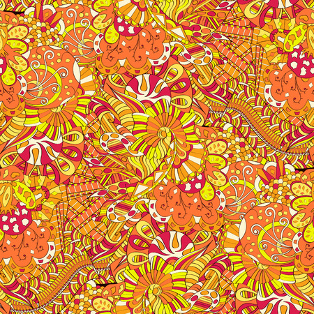 Tracery seamless calming pattern. Mehendi design. Neat even colorful harmonious doodle texture. Algae sea motif. Indifferent discreet. Ambitious bracing usable, curved doodling mehndi.