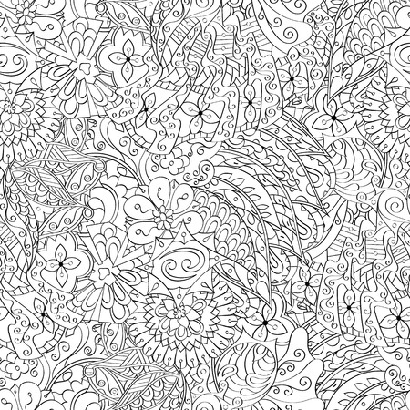 Tracery seamless calming pattern. Mehendi design. Ethnic colorful harmonious doodle texture. Indifferent discreet. Curved doodling mehndi motif. Vector.