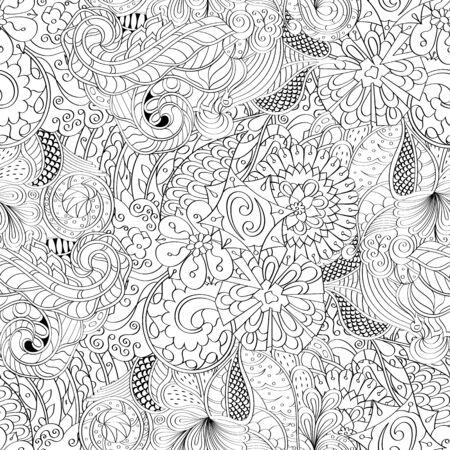 식료품 원활한 원활한 패턴 멘디 디자인. 단색 이진 조화로 운 텍스처조차 청초합니다. 조류 바다 모티브. 모호한 사용 가능한 브레이싱, 곡선 된 낙서